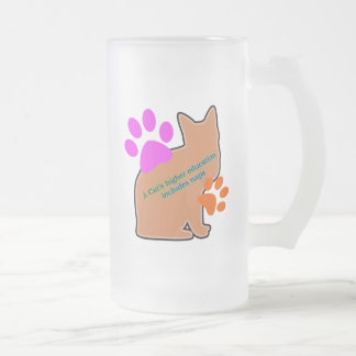 A Cats Higher Education Includes Naps Frosted Glass Beer Mug