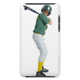 a caucasian male child dressed as a baseball barely there iPod case