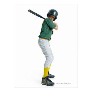 a caucasian male child dressed as a baseball postcard