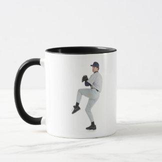 a caucasian man wearing a white baseball uniform mug