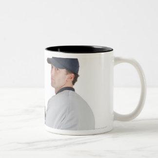 a caucasian man wearing a white baseball uniform Two-Tone coffee mug