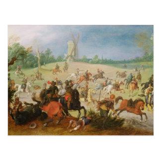 A cavalry battle postcard