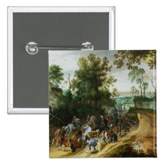 A Cavalry Column Ambushed on a Woodland path 2 Inch Square Button