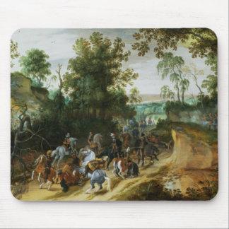 A Cavalry Column Ambushed on a Woodland path Mouse Pad