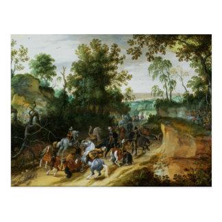 A Cavalry Column Ambushed on a Woodland path Postcard