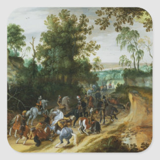 A Cavalry Column Ambushed on a Woodland path Square Sticker