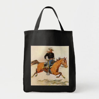A Cavalry Officer by Remington, Vintage Military Grocery Tote Bag