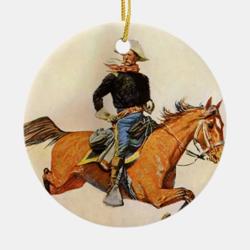 A Cavalry Officer by Remington, Vintage Military Double-Sided Ceramic Round Christmas Ornament