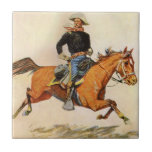 A Cavalry Officer by Remington, Vintage Military Tiles