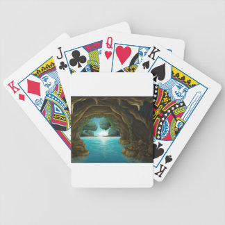 A cave and a water bicycle playing cards