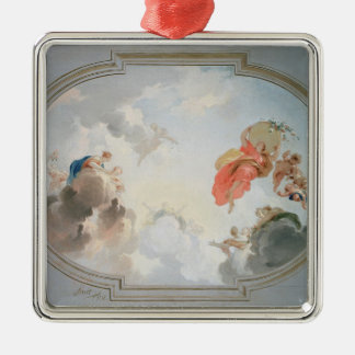 A Ceiling Design depicting the Apotheosis of Square Metal Christmas Ornament