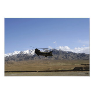 A CH-47 Chinook takes off Photo Print