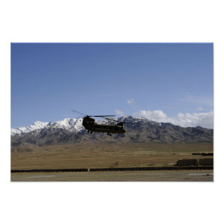 A CH-47 Chinook takes off Posters