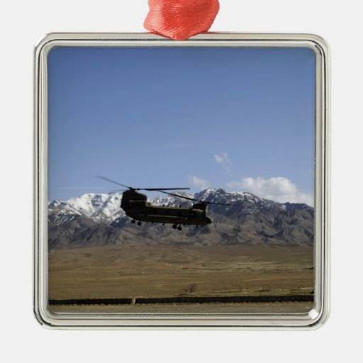 A CH-47 Chinook takes off Square Metal Christmas Ornament