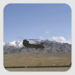 A CH-47 Chinook takes off Square Sticker
