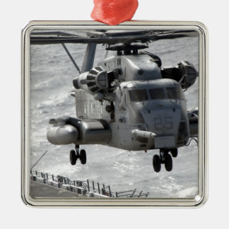 A CH-53E Super Stallion helicopter Square Metal Christmas Ornament