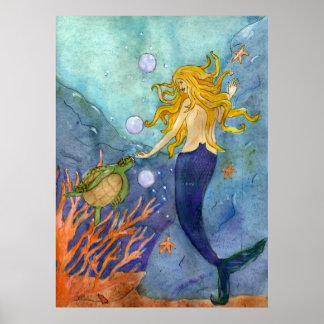 A Chance Encounter mermaid sea turtle poster
