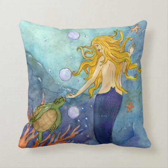 A Chance Encounter Mermaid & Turtle Pillow