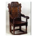 A Charles I armchair, mid 1600s Postcard