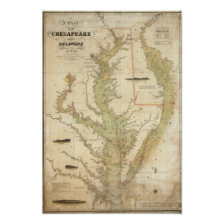 A Chart of the Chesapeake And Delaware Bays Poster