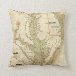 A Chart of the Chesapeake And Delaware Bays Throw Pillow