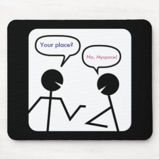 A chat room conversation mouse pad