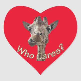 A cheeky Giraffe with attitude Heart Sticker