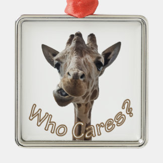 A cheeky Giraffe with attitude Metal Ornament