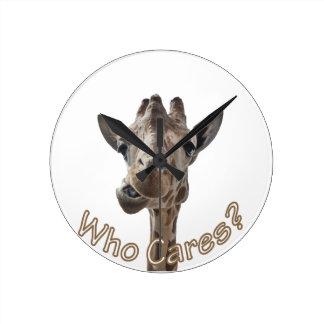 A cheeky Giraffe with attitude Round Clock