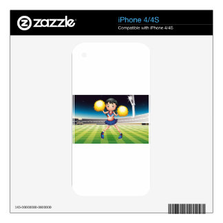 A cheerer with a yellow pompom iPhone 4S decals