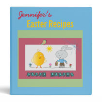 A Cheerful Easter, Cute Chicken and Bunny, Binder