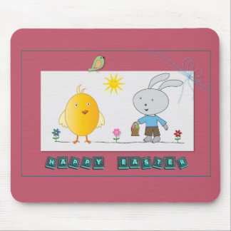 A Cheerful Easter, Cute Chicken and Bunny Mousepad