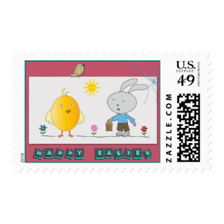 A Cheerful Easter, Cute chicken and Bunny Postage Stamp