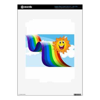 A cheerful sun near the rainbow skins for iPad 3