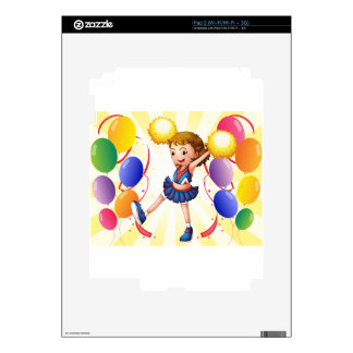 A cheerleader dancing in the middle of the balloon skins for the iPad 2