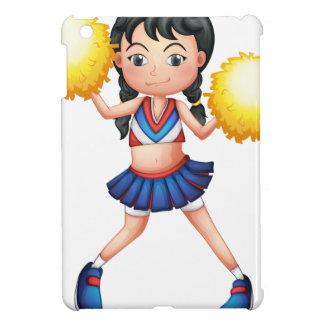 A cheerleader in her uniform with yellow pompoms case for the iPad mini