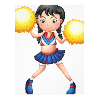 A cheerleader in her uniform with yellow pompoms letterhead design