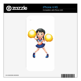 A cheerleader in her uniform with yellow pompoms decal for the iPhone 4S