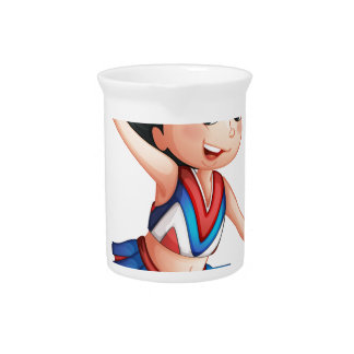A cheerleader inside a cloud beverage pitchers