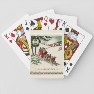 A Cheery Horse and Carriage Christmas Playing Cards