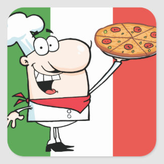 A Chef Holds Up Pizza Square Sticker