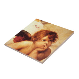 A Cherub, Detail of the Sistine Madonna - Raphael Ceramic Tile