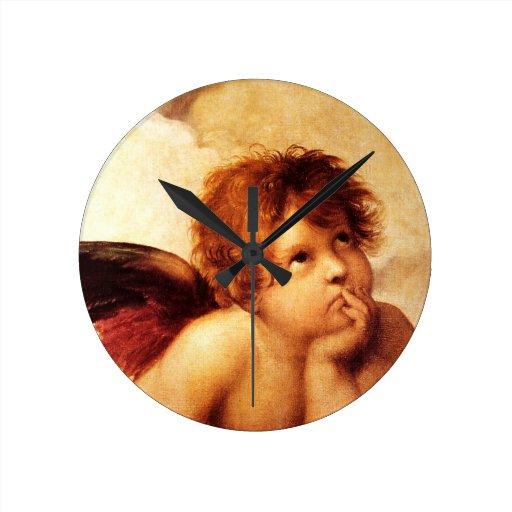 A Cherub, Detail of the Sistine Madonna - Raphael Round Clocks