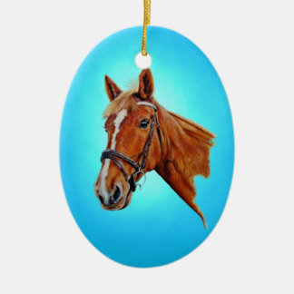 A chestnut mare with a white blaze, painting. ceramic ornament