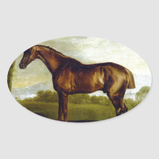 A Chestnut Racehorse by George Stubbs Oval Sticker
