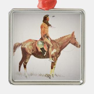 A Cheyenne Brave, 1901 (colour litho) Square Metal Christmas Ornament