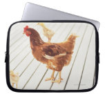 A Chicken and Two Chicks On a Wooden Floor, Computer Sleeve