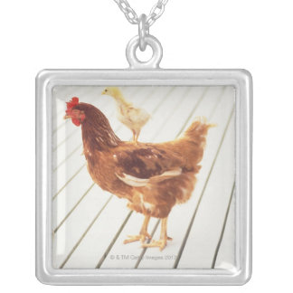 A Chicken and Two Chicks On a Wooden Floor, Silver Plated Necklace