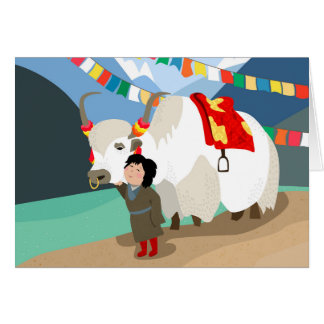 A child and best friend pet Tibetan yak colorful Card