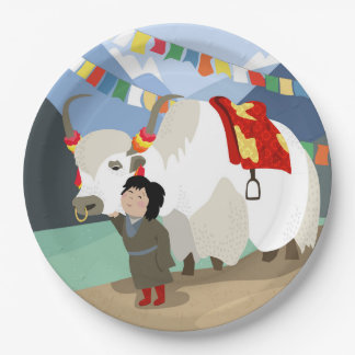 A child and best friend pet Tibetan yak colorful Paper Plate